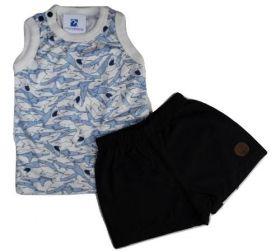 Conjunto Bebe Menino Camiseta Bermuda Sarja Bebe Black Friday