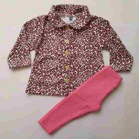 Kit Conjunto Soft Fleece Casaco Legging + Calça Marrom