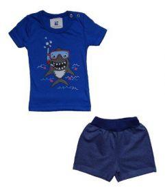 Conjunto Manabana Curto verão Infantil Bebê Menino 2 Peças Verão Camiseta e Bermuda
