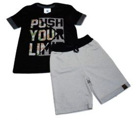 Conjunto Camiseta Bermuda Moletom Criança Menino 4 A 10 Anos