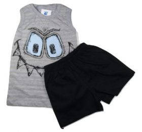 Conjunto Bebe Menino Camiseta Bermuda Sarja Infatil