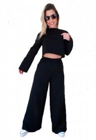 Conjunto  Blusa e Calça Pantalona de Moletom Flanelado Manabana