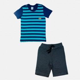 Conjunto Manabana com Camiseta e Bermuda de moletom Curto Infantil Menino listras