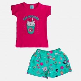 Conjunto Manabana Shrots e Blusinha Curto Infantil Menina