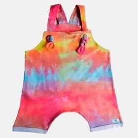 Jardineira  salopete Infantil Tie Dye para Menina, curto, verão