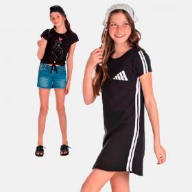 KIT Vestido em Suedini mais Blusinha 12 ao 16 anos Manabana