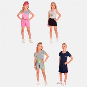Vestido em Suedini + 3 conjuntos 4 ao 10 anos Sortidos Manabana