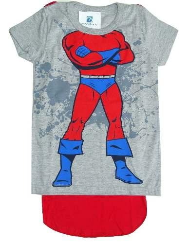 Camiseta Super Herói Com Capa Removível Roupa Bebê Menino  - Manabana