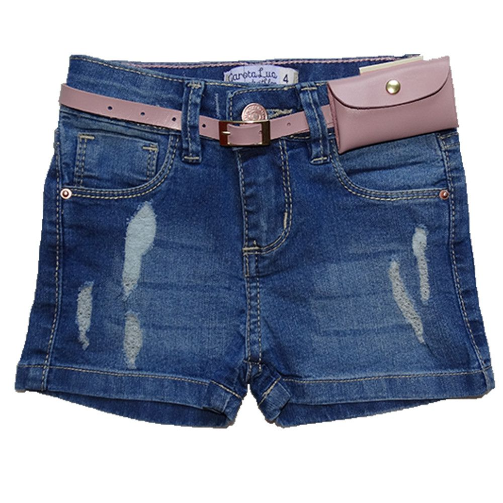 Bermuda Jeans Infantil Menina Shorts Manabana Lindo Oferta  4 6 8 anos  - Manabana