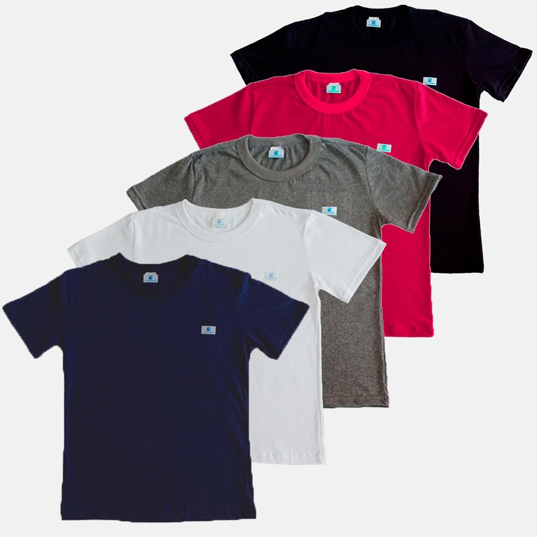 Kit 5 Camiseta Infantil Manabana Basica Cores 1 2 3  - Manabana