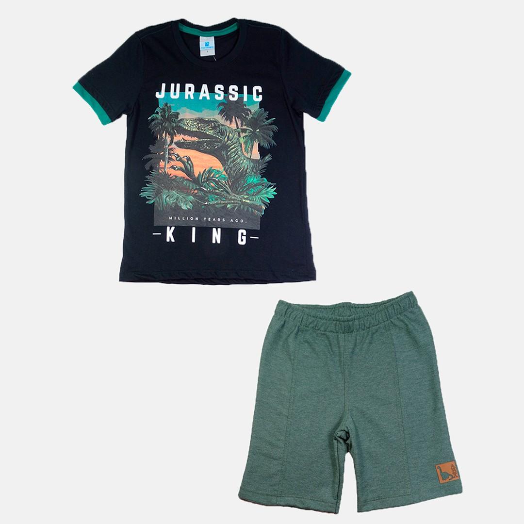 Conjunto Manabana com Camiseta e Bermuda de moletom Curto Infantil Menino listras   - Manabana