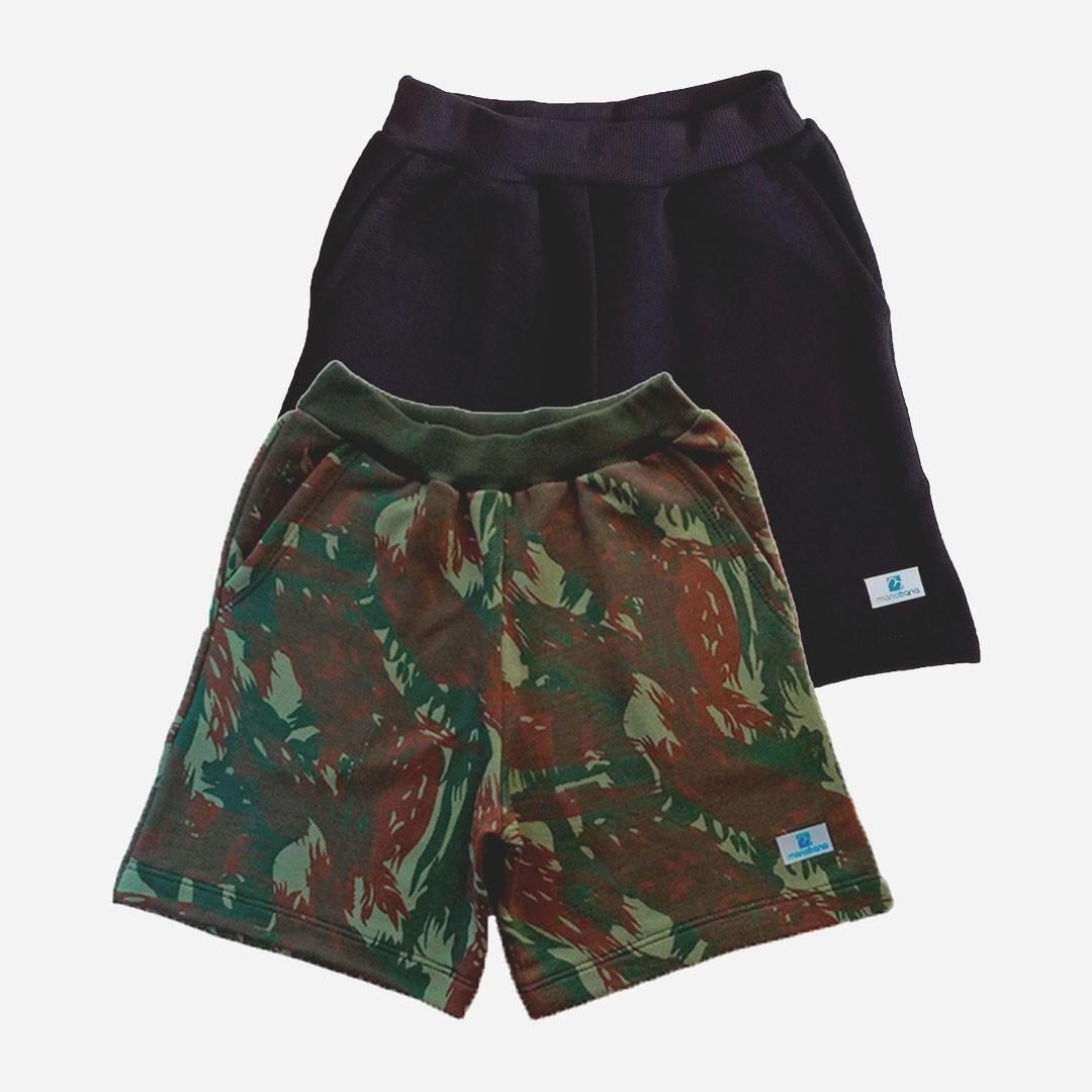 Kit 2 Bermuda Short Manabana Moletom camuflado ou cinza com bolso Juvenil 12 ao 16 anos  - Manabana