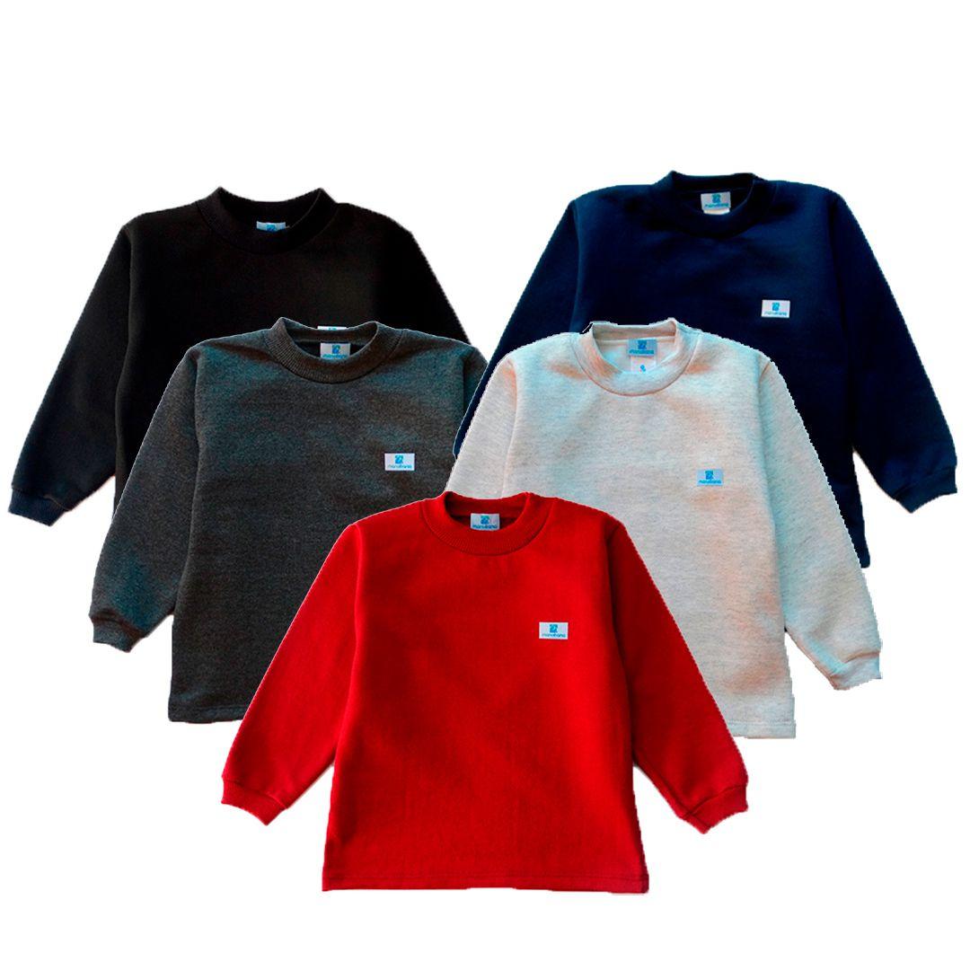 Kit 5 blusas de moletom Manabana flanelado infantil  - Manabana