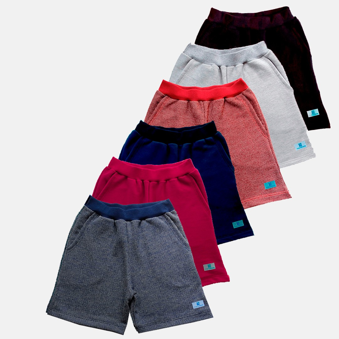 Kit 6 Bermuda Shorts Moletom moletinho bebê Manabana 1 2 3  - Manabana
