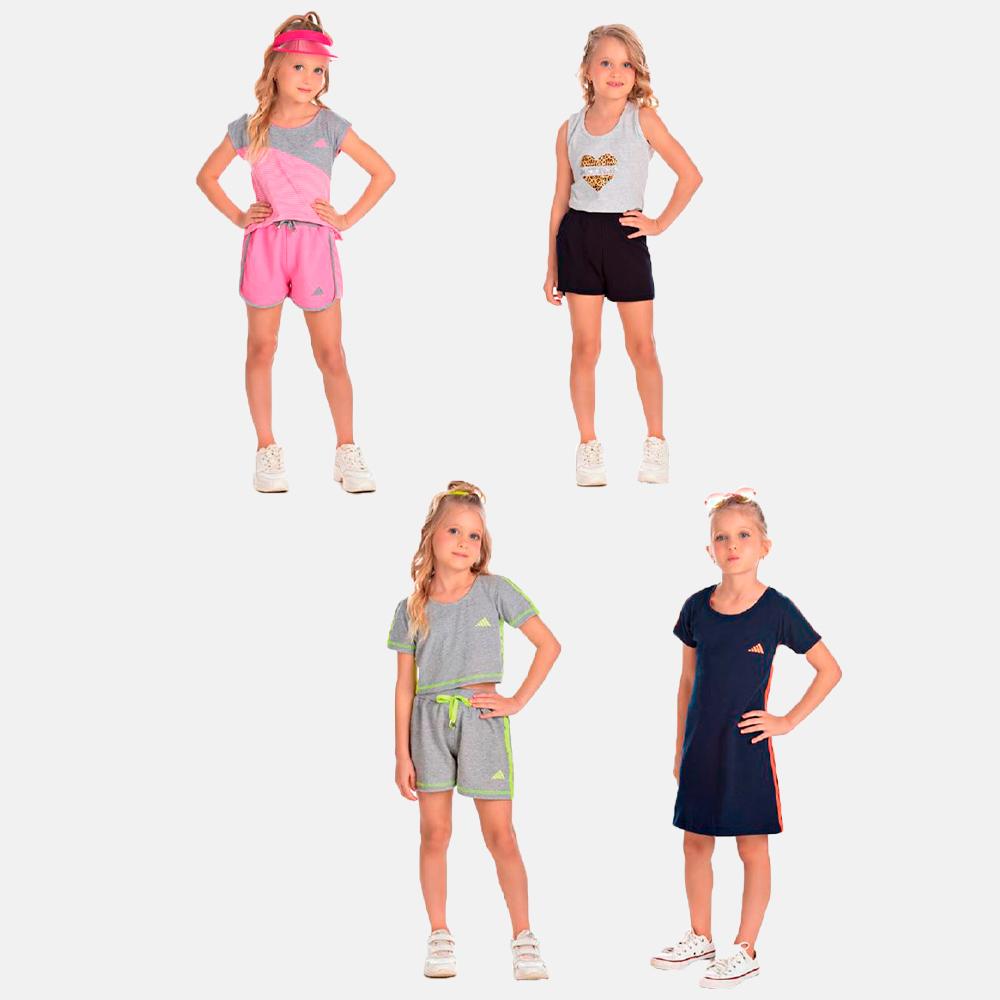 Vestido em Suedini + 3 conjuntos 4 ao 10 anos Sortidos Manabana  - Manabana