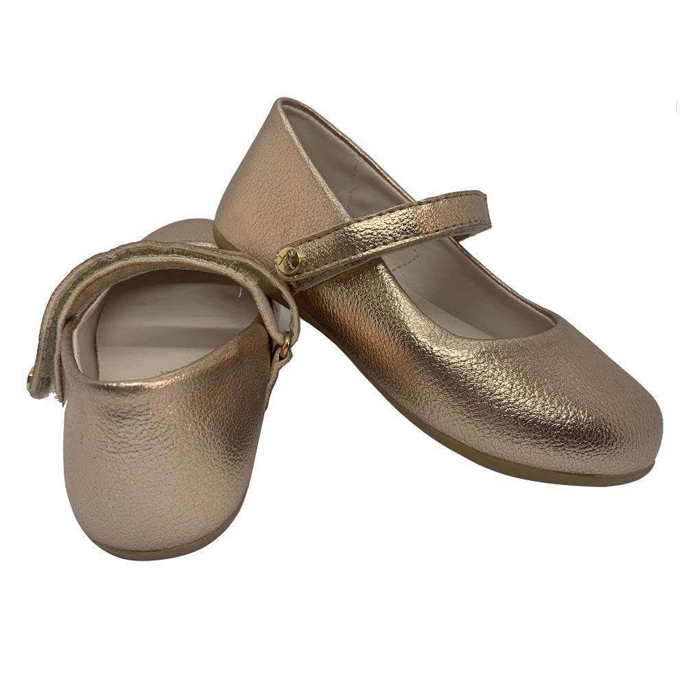 Sapato Boneca Infantil Rosê Metalizado Xuá Xuá