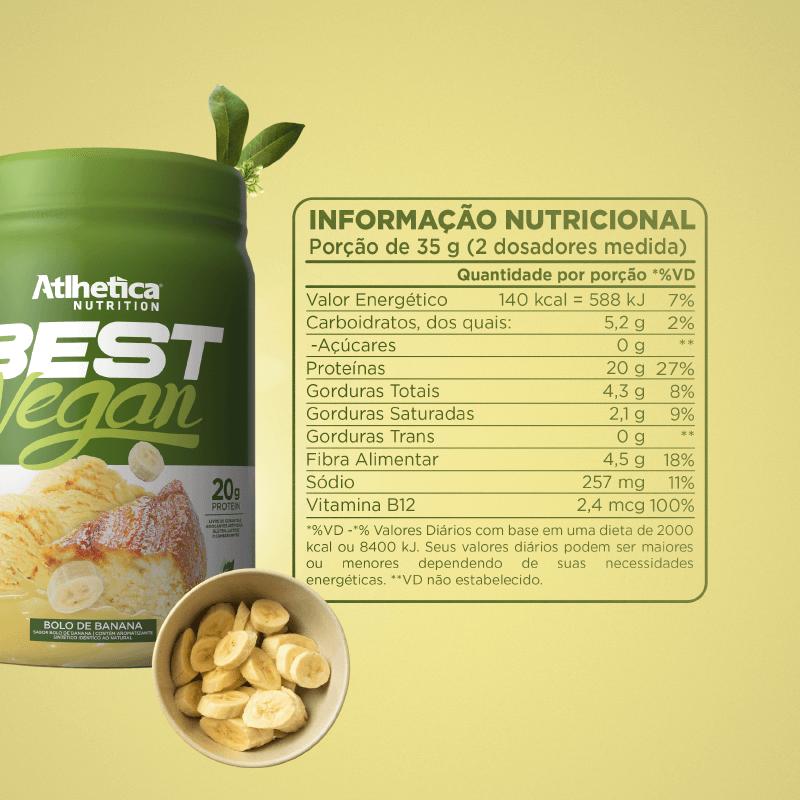 BEST VEGAN (500 G) BOLO DE BANANA - Whey Protein Vegano