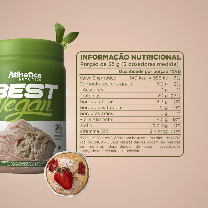 BEST VEGAN (500 G) MUFFIN COM MORANGO & BANANA - Whey Protein Vegano