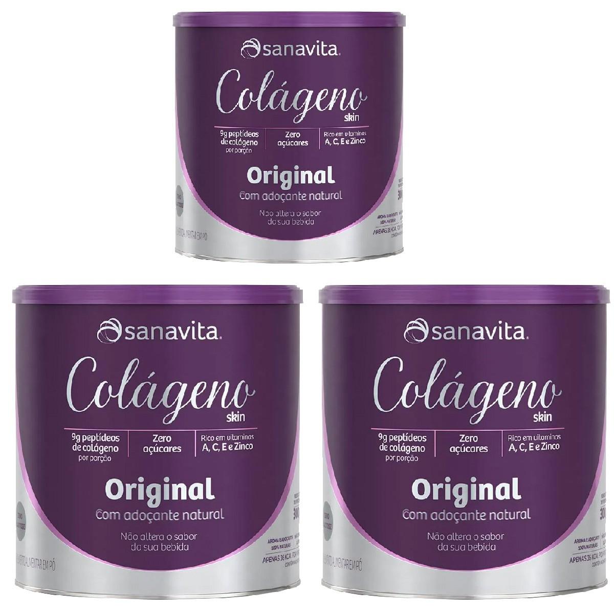 Colágeno Hidrolisado Sanavita 300g  - Kit com 3 Potes
