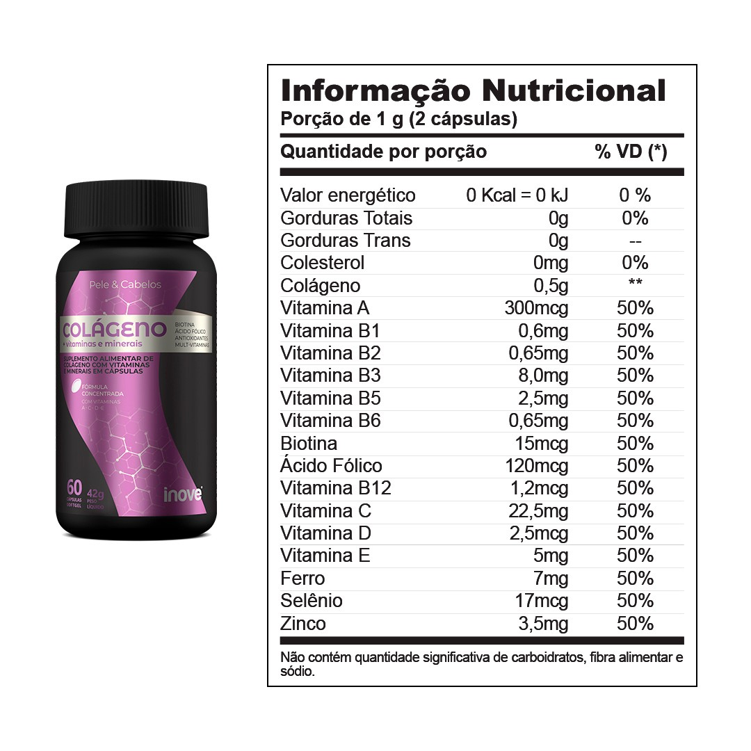 Colágeno + vitaminas e minerais Inove Nutrition 60 caps.