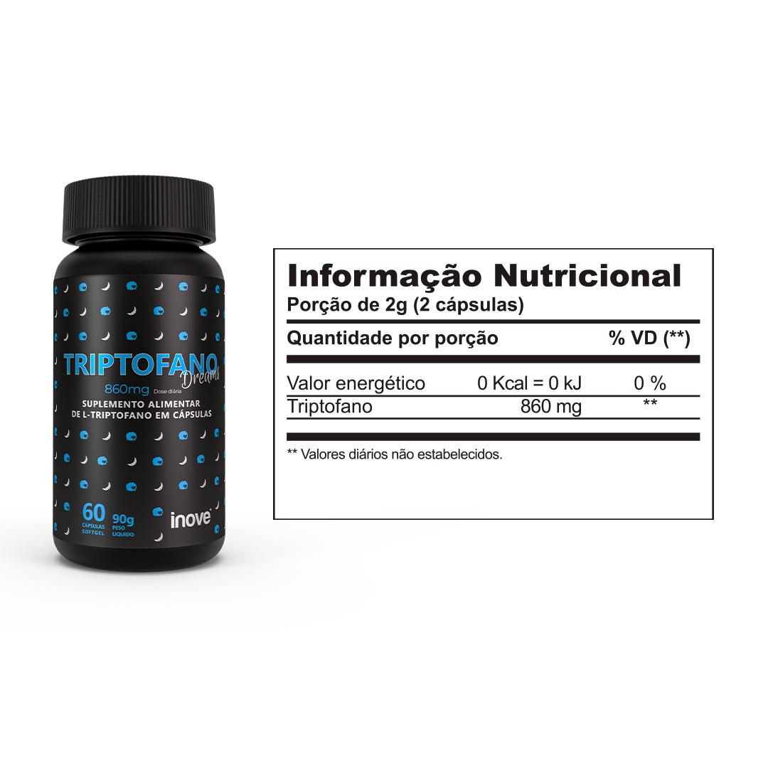 Kit Triptofano Dreams 860mg dose ? Inove Nutrition® ? 3 potes c/ 60 cápsulas cada