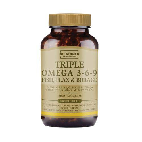 Ômegas 3-6-9 60 Cápsulas Triple Omega, Fish, Flax and Borage Nature's Gold