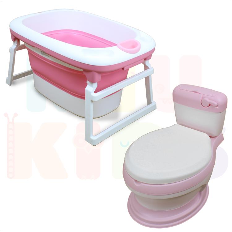Kit Banheira Ofurô Luxo Infantil + Troninho Clássico Para Desfralde