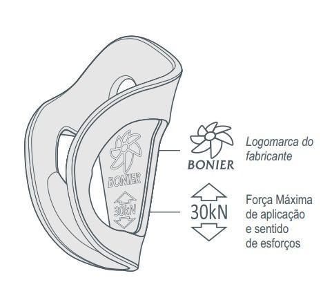 Chapeleta Inox Dupla 30kn Bonier UNIDADE