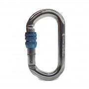 Mosquetão Alumínio Oval Polido Trava Rosca Azul 26KN (CE EN) - SideUp