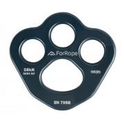 Placa de Ancoragem Alumínio 4 (3+1) FUROS 28KN CINZA (EN 795B) - FOR ROPE