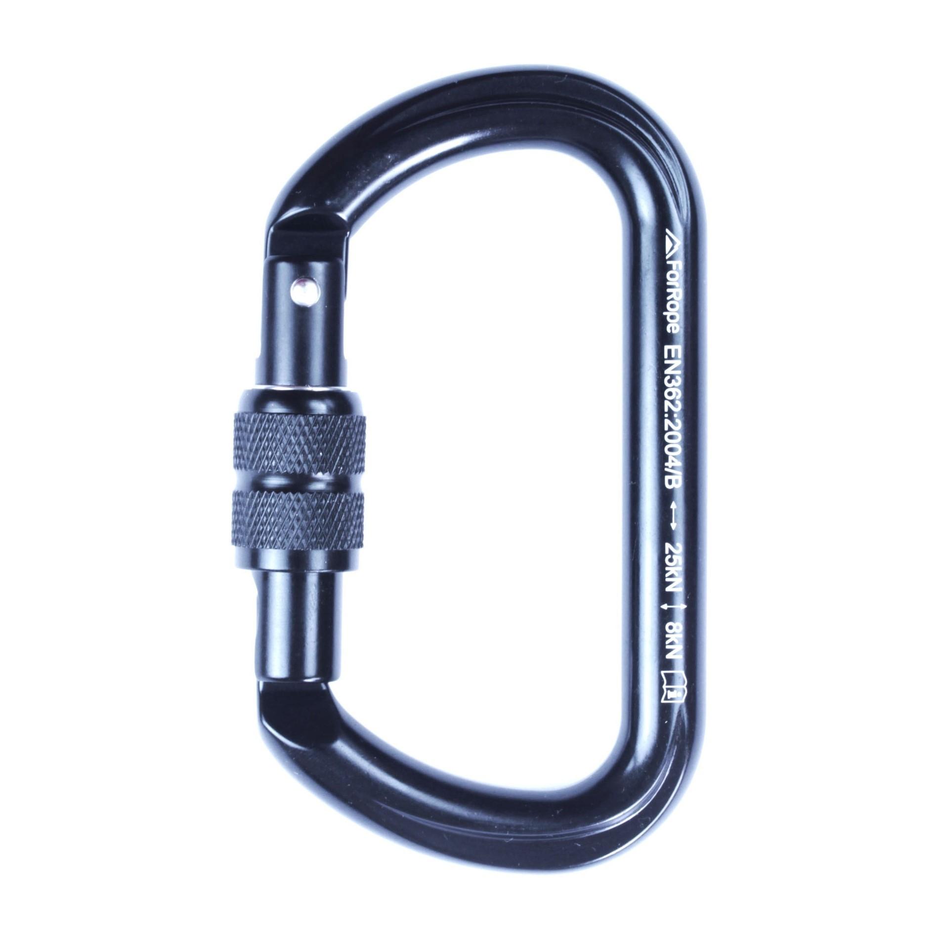 Mosquetão Alumínio Oval Trava Rosca Keylock 25KN - FOR ROPE (PRETO)