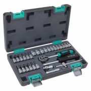Kit Chave Catraca Soquetes 1/4 4 a 13mm CR-V 29 Peças 14100 Stels