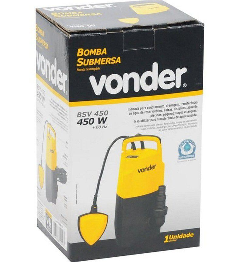 Bomba submersa 450 watts para agua suja turva limpa bsv 450 Vonder
