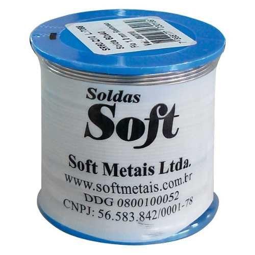 Carretel Estanho 500gr 1,0 mm Resina Azul - Soft Metais