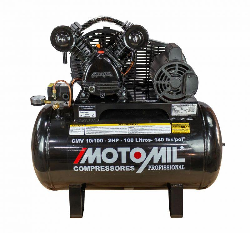 Compressor de Ar 10 Pés 100 litros Monofásico 2 HP CMV-10/100 - Motomil