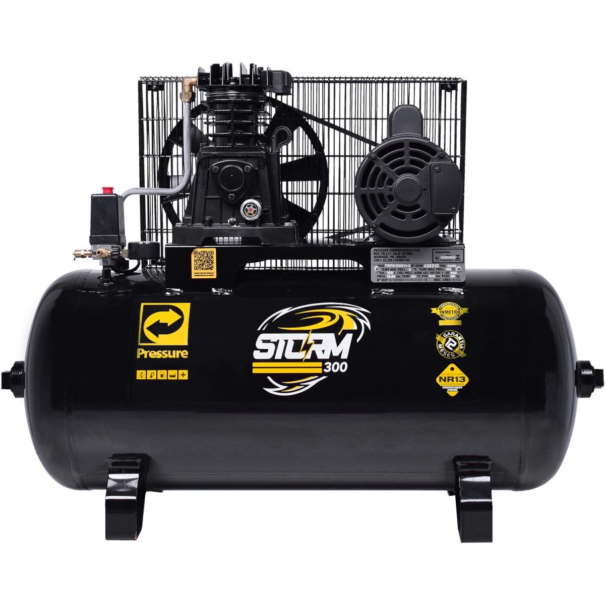 Compressor de Ar 10 Pés 100L 2HP Bivolt Monofásico STORM 300 PRESSURE