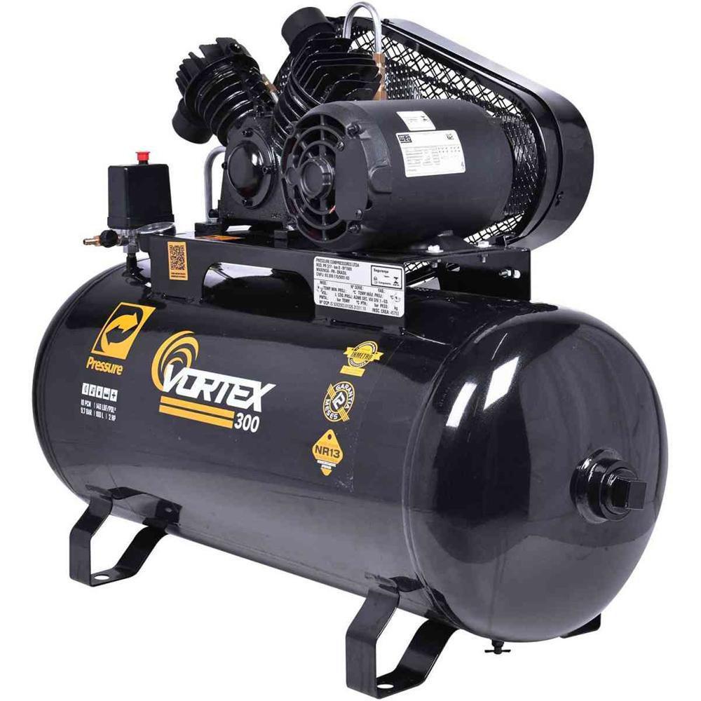 Compressor de Ar 10 Pés 100L 2HP Bivolt Monofásico Vortex 300 PRESSURE