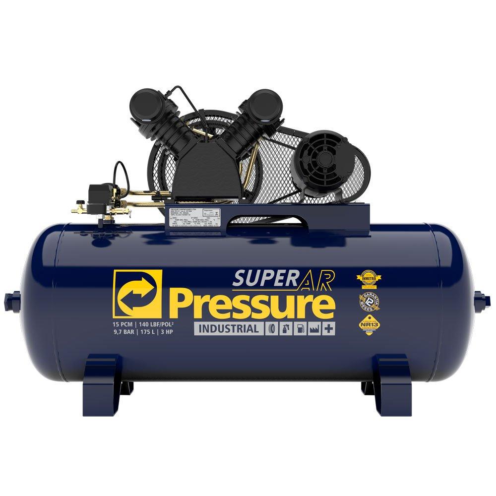 Compressor de Ar 15 Pés 175 PSI 200 Litros Monofásico 110/220V Super Ar Pressure