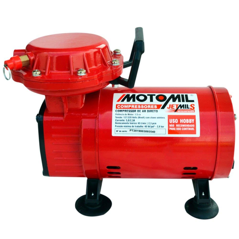 Compressor de Ar Direto 2,3 Pés 1/3HP Bivolt 110/220V JETMIL-S - MOTOMIL
