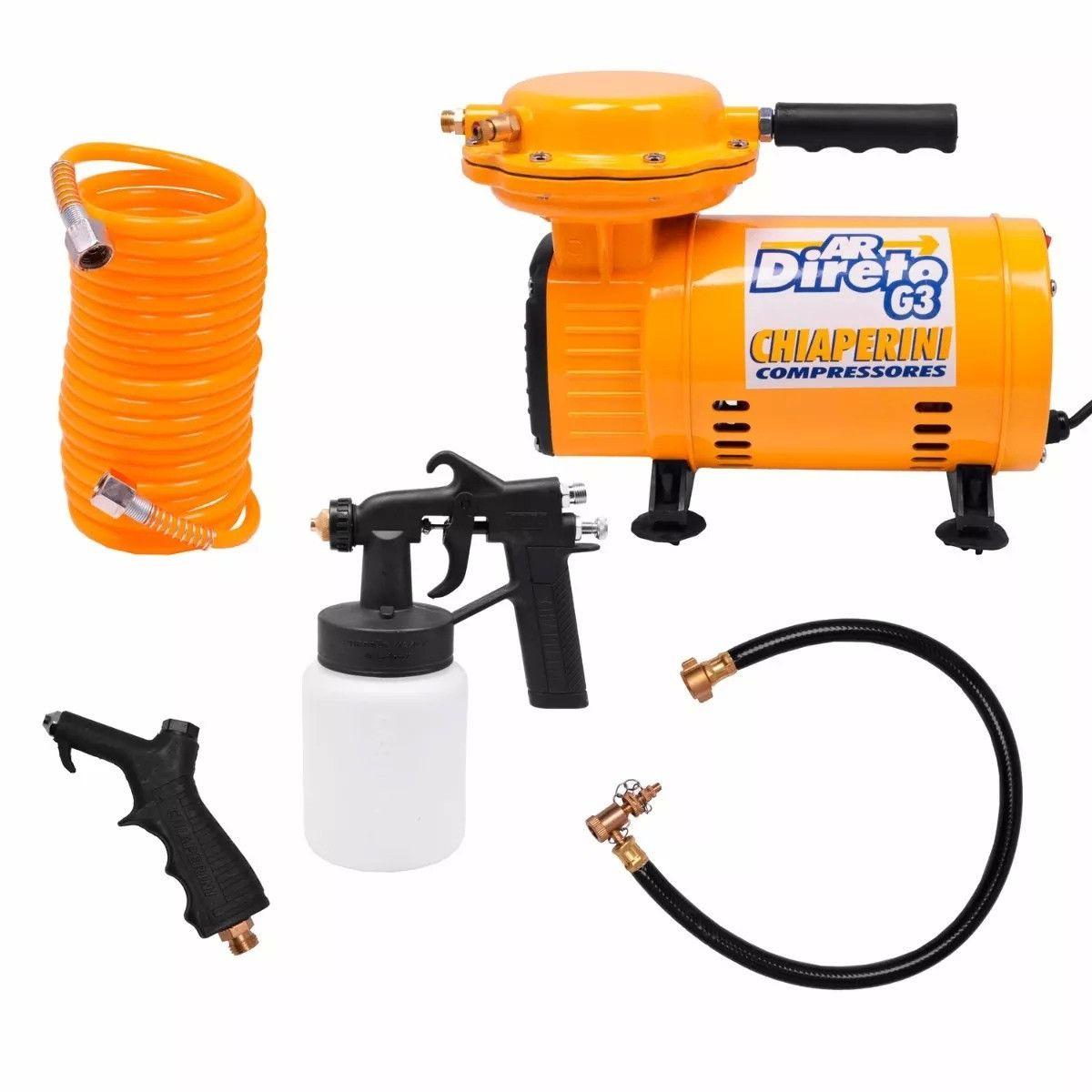 Compressor de Ar Direto G3 40PSI 1/3HP Bivolt com Kit para Pintura - Chiaperini