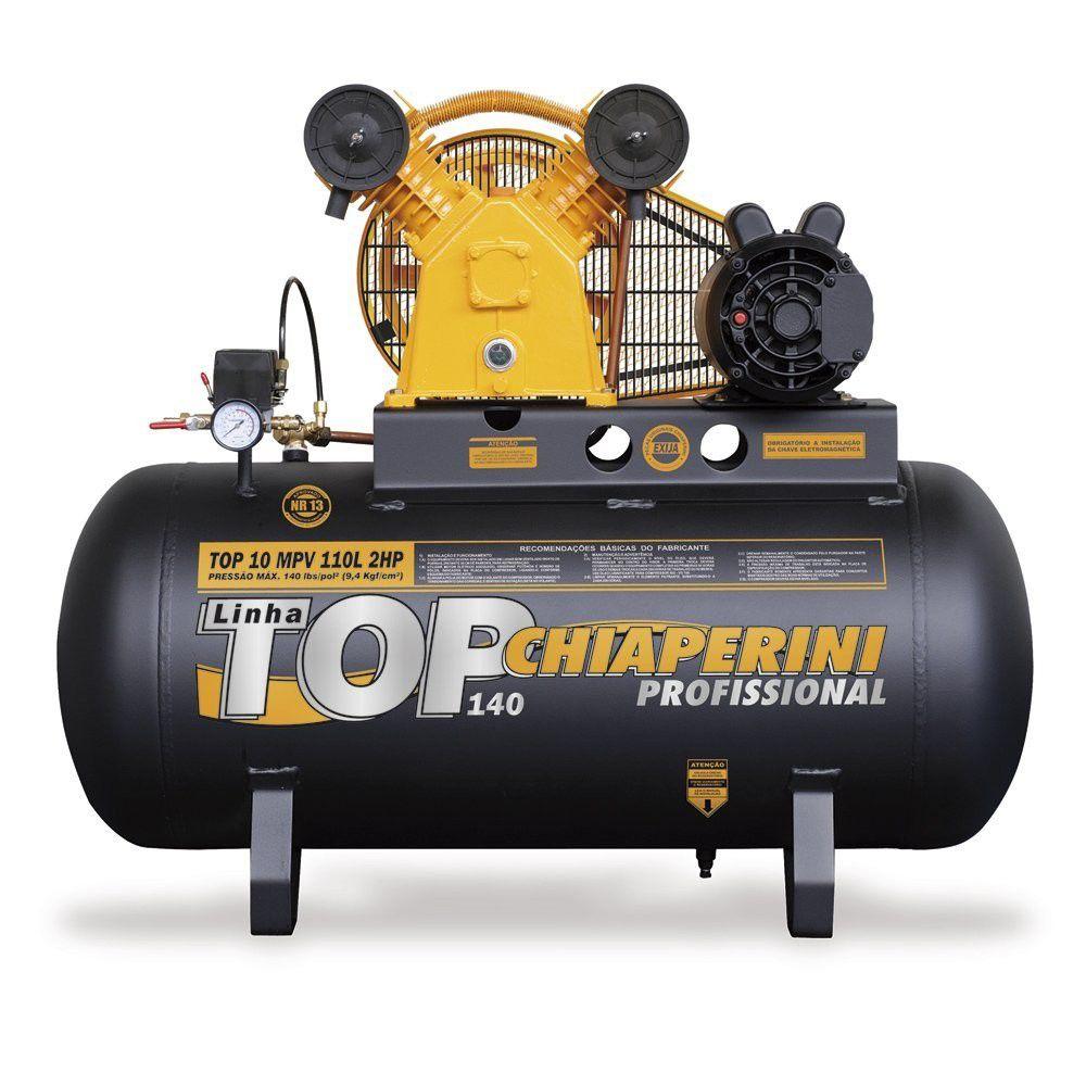 Compressor De Ar Média Pressão 10 Pés 110 Litros Monofásico - Top 10 Mpv 110l - Chiaperini