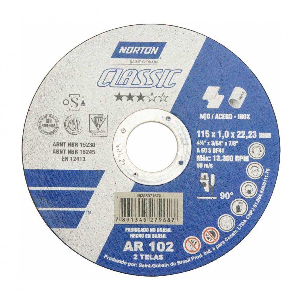 Disco de Corte 04 1/2 X 3/64 X 7/8 - INOX Norton