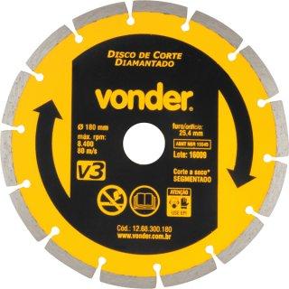 Disco de Corte Diamantado 180mm Turbo V3 - Vonder