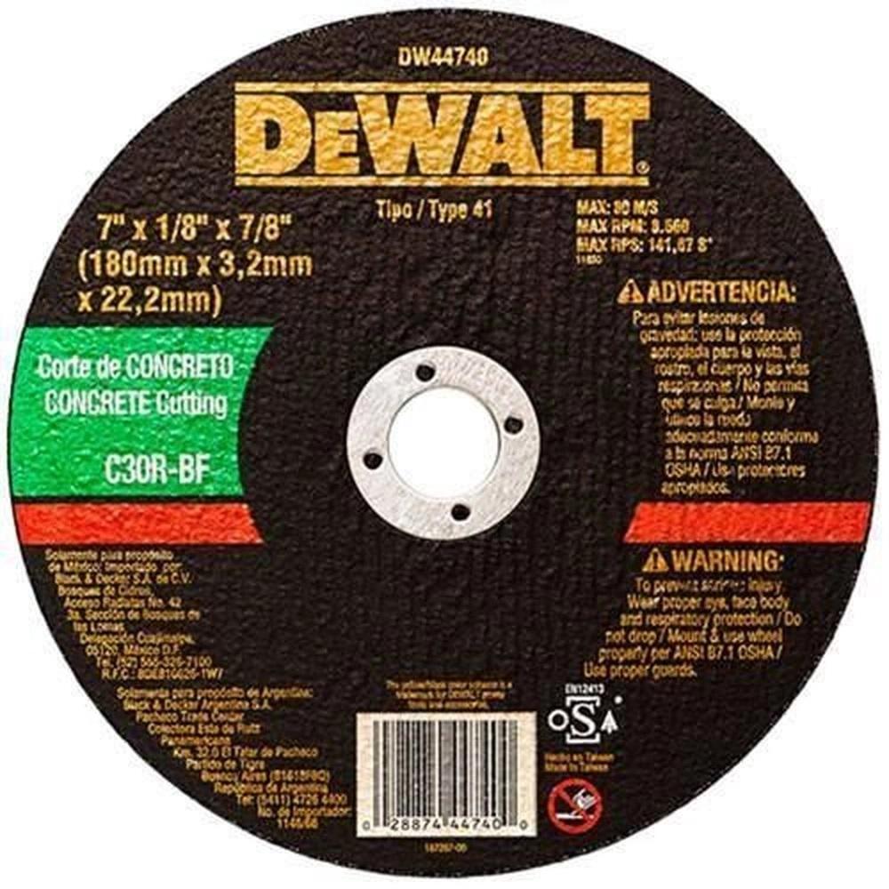 Disco De corte Para Concreto 07 x 3,2 mm x 7/8 - Dw44740 - Dewalt