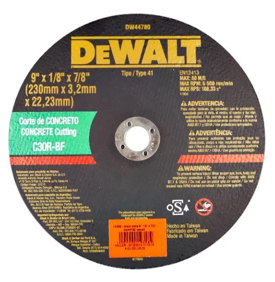 Disco De Corte Para Concreto 09 x 3,2 mm x 7/8 -Dw44780 - Dewalt