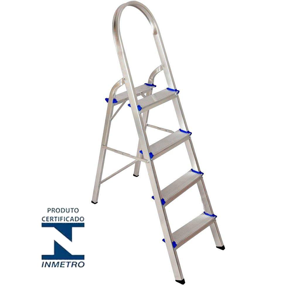Escada domestica em alumínio 04 degraus - Real