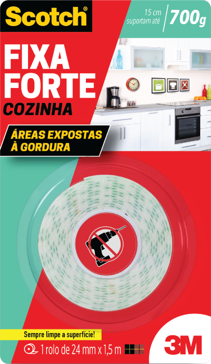 Fita Dupla Face Fixa Forte 24mmX1,5m Cozinha Áreas Expostas a Gordura Scotch 3M