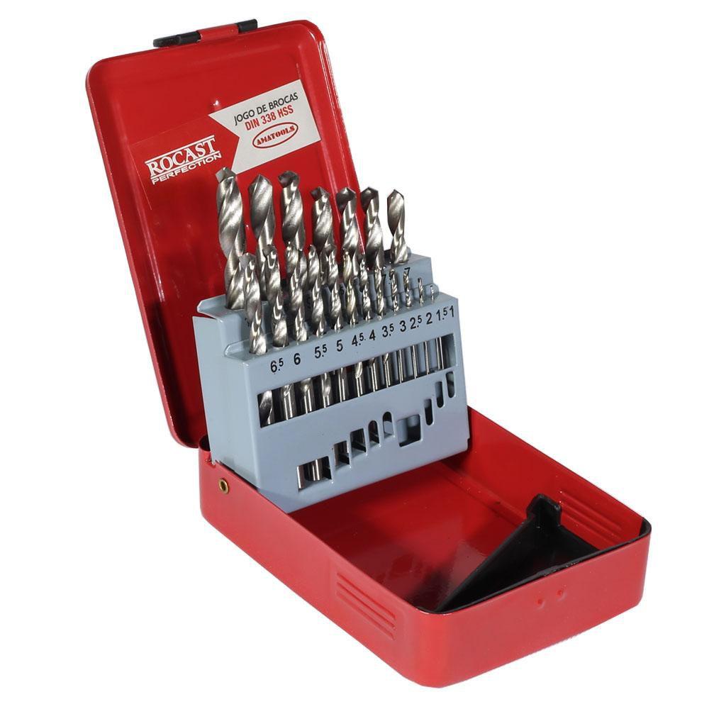 Jogo de Brocas Aço Rápido com 19 Peças 1,0 à 10,0mm-ROCAST-JOGOHSS19