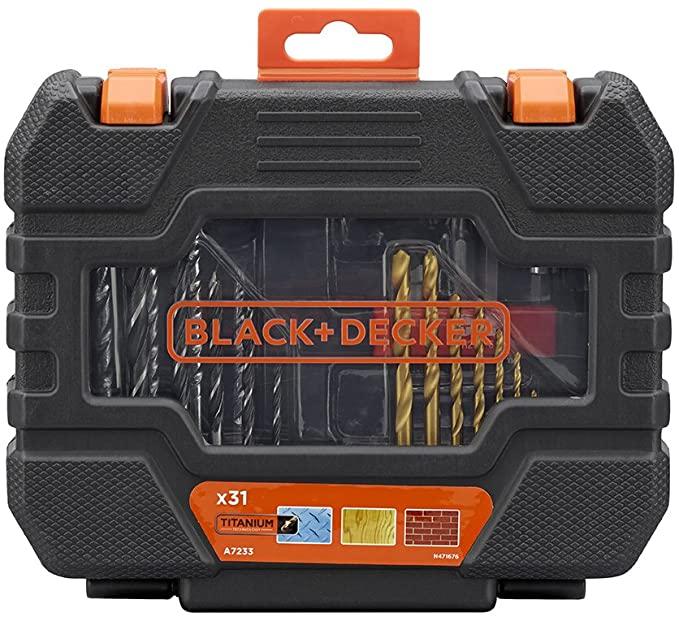 Jogo de Brocas Bits Pontas 31 Peças com estojo A7233-XJ-  Black & Decker