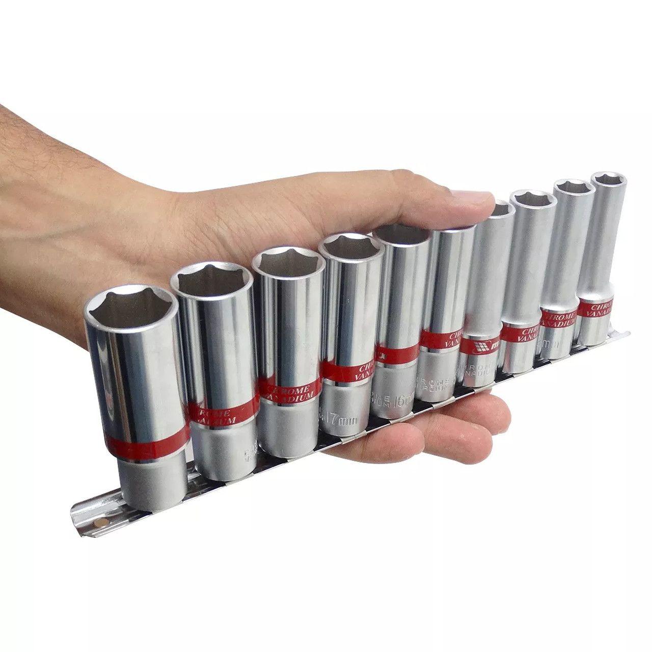 jogo de Soquete encaixe de 1/2 Longo 10 à 22mm - MTX FERRAMENTAS